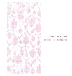 Pink textile tulips texture vertical frame vector image