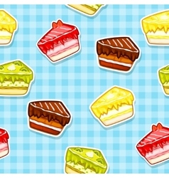 Seamless pattern with colorful cake stickers vector