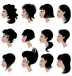 set of black hair styling for woman vector image vector image