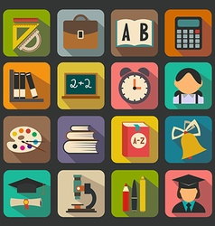 Set of flat school icons on a color background vector
