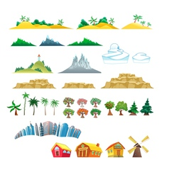 Set of trees mountains hills islands and buildings vector
