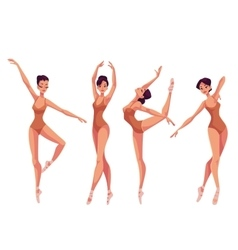 Set of young beautiful dancers in tights and vector