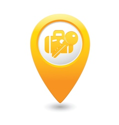 Suitecaseandkey map pointer yellow vector