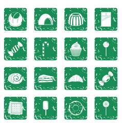 Sweets and candies icons set grunge vector