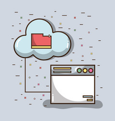 technology window with file inside of cloud vector image