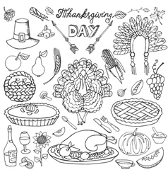 Thanksgiving dayDoodle iconsLinear set vector image