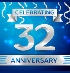 thirty two years anniversary celebration design vector image vector image
