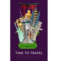 Time to travel banner with famous attractions vector image vector image