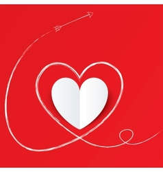 White paper heart with arrow path Valentines day vector image