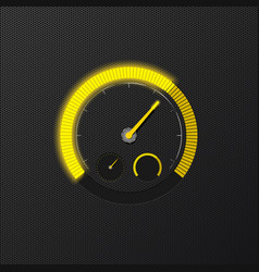 Yellow speedometer on carbon background vector