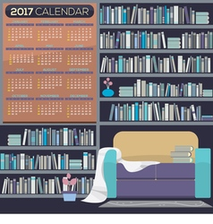 Flat design reading room 2017 printable calendar vector