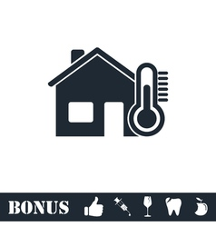 House temperature icon flat vector