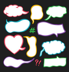 Set of sketched speech bubbles vector