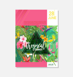 Brochure template tropical flowers graphic vector