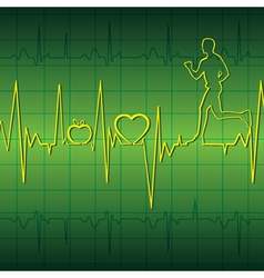 Green heart beat graph background with running men vector