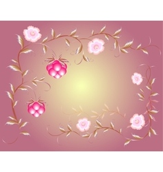 Pattern of beautiful raspberry and pink flowers vector