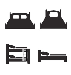 Bed icons set for hostels and hotels vector