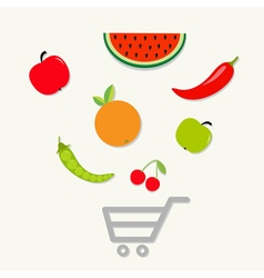 Fruits vegetables shopping cart center flat vector