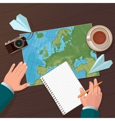 Travel planning top view vector