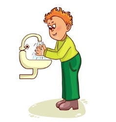 Little man washes his hands image vector