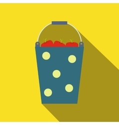 Blue bucket of fruit vector