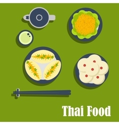 Asian lunch of thai cuisine vector