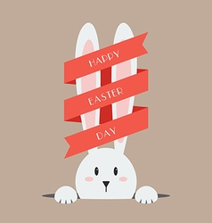 White easter rabbit with red ribbon vector