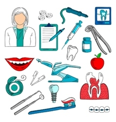 Female dentist with dentistry icons sketches vector