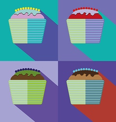 Sweets cards set with cream cakes vector
