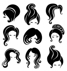 Big set of black hair styling for woman vector