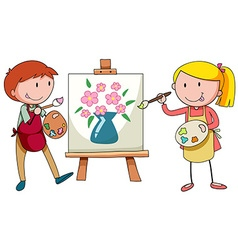 Two artists painting on canvas vector