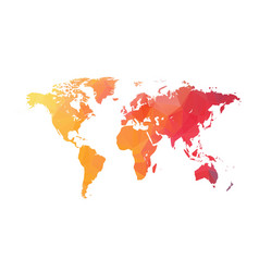 Abstract Triangular Orange Red Colorful World Map vector image vector image