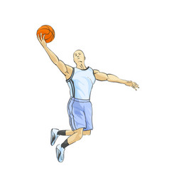 Basketball player throws the ball vector