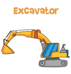 Big excavator cartoon vector