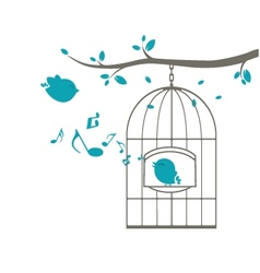 Birds singing on the cage vector