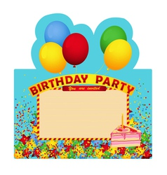 Birthday party inventation card with cake vector image
