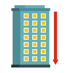 Building and red down arrow icon isolated vector