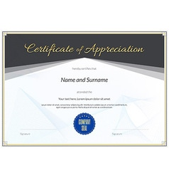 Certificate appreciation black gold vector