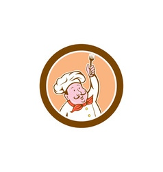 Chef cook holding fork cartoon vector