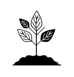 Contour plant with ground to save and care vector