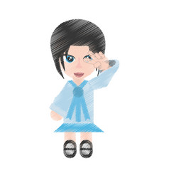 drawing japanese girl student uniform vector image