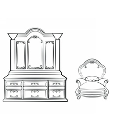 Dressing table with ornamented furniture vector image vector image