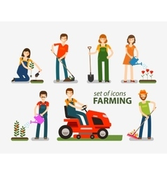 Farming and gardening set of icons people at work vector