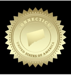 Gold star label connecticut vector