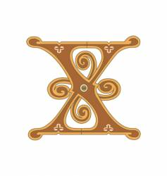 golden letter x vector image