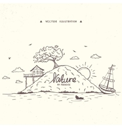 island nature doodles vector image vector image