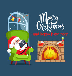 Merry christmas claus relax vector