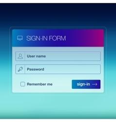 Modern user interface screen login template for vector image