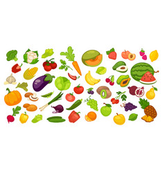 natural organic fruit and vegetables set on white vector image vector image