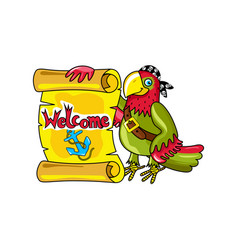 Pirate parrot with signboard icon vector